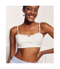 top cropped de laise feminino hype beachwear alça fina decote princesa off white
