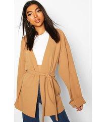 tall wide sleeve belted blazer, camel