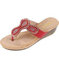 accesorios de perlas sandalias antideslizantes para mujer-rojo