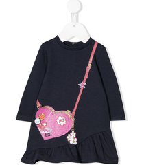 little marc jacobs handbag print dress - blue