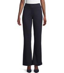 saks fifth avenue women's high-waist wide-leg pants - navy - size l