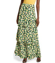afrm sabine tiered maxi skirt, size medium in spring daisy at nordstrom