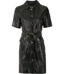 eva leather utility dress - black