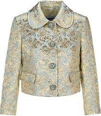 dolce & gabbana dolce & gabbana cropped lamé jacquard jacket