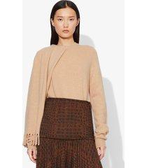 proenza schouler draped scarf cashmere long sleeve knit sweater camel melange/brown l