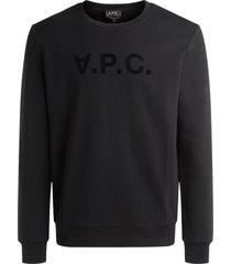 a.p.c. a.p.c crewneck sweatshirt in black cotton with logo