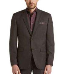 perry ellis premium charcoal windowpane slim fit tech suit