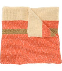 cashmere in love oversized striped scarf - orange
