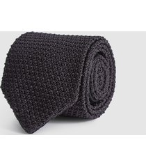 reiss jackson - silk knitted tie in charcoal, mens