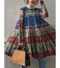 camicetta vintage da donna a maniche lunghe con scollo a stampa etnica