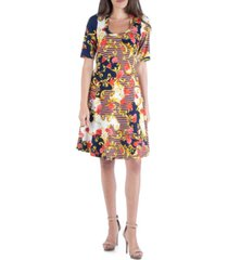 24seven comfort apparel floral paisley fit and flare dress