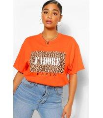 plus luipaardprint j'adore t-shirt, oranje
