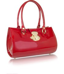 l.a.p.a. designer handbags, crystal buckle patent leather barrel bag