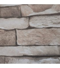 kit 2 rolos de papel de parede fwb lavável tijolinho bege escuro 3d