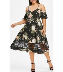 plus size flower lace insert open shoulder flutter sleeve dress