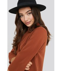 na-kd high neck wide sleeve blouse - orange