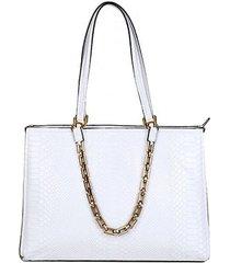 bolsa couro luz da lua shopper mamba corrente feminina