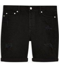 mens black ripped denim skinny shorts