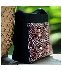 cotton shoulder bag, 'hypnotic poppy' (thailand)