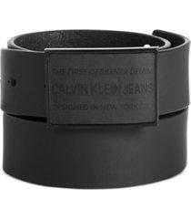calvin klein jeans men's rubberized leather logo belt
