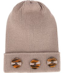 0711 button beanie - neutrals