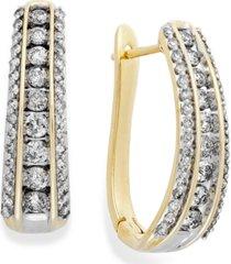 diamond channel j-hoop earrings in 10k white gold or gold (1 ct. t.w.)
