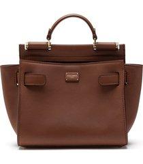 dolce & gabbana small sicily tote bag - brown