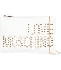 love moschino eyelets logo clutch bag