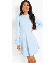 skater jurk met blouson mouwen, dusty blue