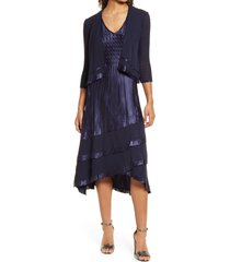 women's komarov tiered chiffon & charmeuse midi dress with jacket, size large - blue