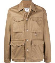 beige multi-pocket cargo jacket