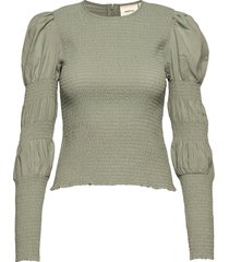 mazzigz ls blouse ms21 blouse lange mouwen groen gestuz