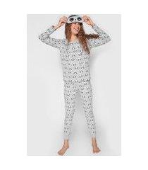 pijama malwee liberta panda cinza/rosa