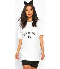 zwangerschap 'kick or treat' halloween t-shirt, wit
