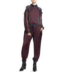 satin ruffled leopard-print jumpsuit