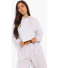 woman korte hoodie met tekst, lilac