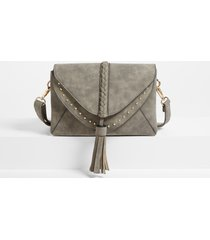 maurices womens braided stud crossbody bag gray