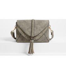 maurices womens braided stud crossbody bag gray