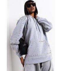 akira no angel oversized studded hoodie