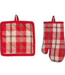 kit natalino luva e pegador de panela vermelho 2 unidades