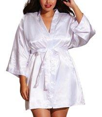 dreamgirl plus size satin robe & chemise 2pc lingerie set