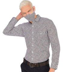 camisa casual  tapabocas colección antiviral hombre 07698