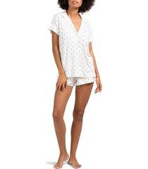 women's eberjey sleep chic short pajamas, size x-large - ivory