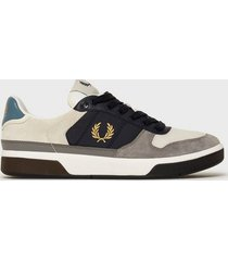 fred perry b300 lthr/suede/poly sneakers porcelain