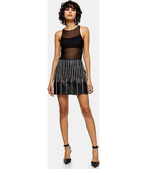 black diamanté drop pu mini skirt - black