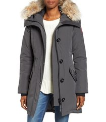 women's canada goose rossclair genuine coyote fur trim down parka, size large (12-14) - grey
