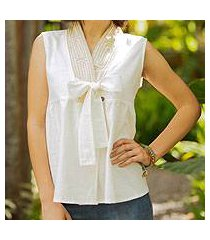 cotton blouse, 'relax in white' (thailand)
