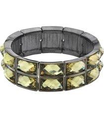 2028 hematite-tone stretch bracelet