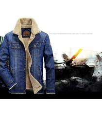 mens thicken fur lining winter warm denim jacket suit coat parka outwear