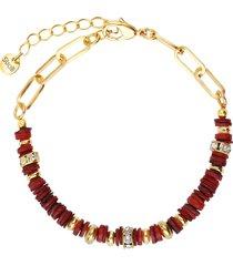 bracciale in ottone dorato con elementi conchiglia rossi e strass per donna